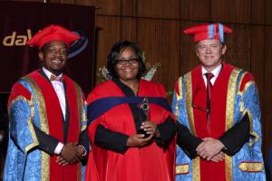 At the Da Vinci Institute, South Africa, receiving the Ndlovu Award