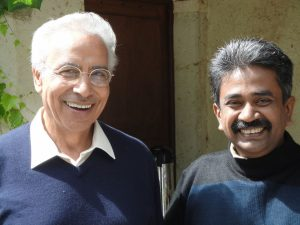 Vinya Ariyaratne with Wisdom Council Member Dr. Ibrahim Abouleish at Trans4m F4RUM 2010 in Hotonnes